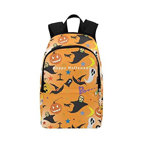 InterestPrint Halloween Pumpkin Spooky Ghost Custom Casual Backpack School Bag Travel Daypack