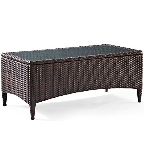 Crosley Furniture Kiawah Outdoor Wicker Table with Glass Top – Brown Review