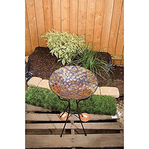 Auburn Iridescence Mosaic Art Glass Bird Bath