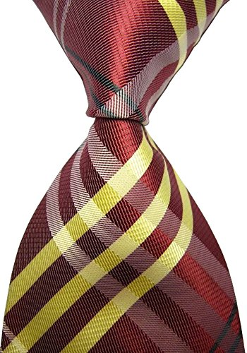 Secdtie Men's Classic Checks Dull Red Yellow Jacquard Woven Tie Formal - Boys Poplin Patterned Shirts