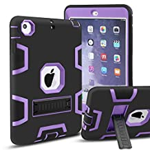 iPad Mini Case, iPad Mini 2 Case, iPad Mini 3 Case,MAKEIT 3in 1 Heavy Duty Protection Kickstand Combo Hybrid Impact Silicone Hard Case Cover for Apple Ipad Mini 1 2 3 (Black/Purple)