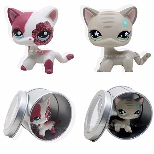 [tongrou 2pcs #2291 #483 RARE Littlest Pet Shop LPS Gray Short Hair CAT Black cat] (Jack In The Box Costume Head For Sale)