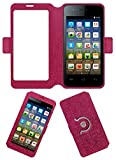 Acm SVIEW Window Designer Rotating Flip Flap Case for Micromax Bolt A067 Mobile Smart View Cover Stand Pink