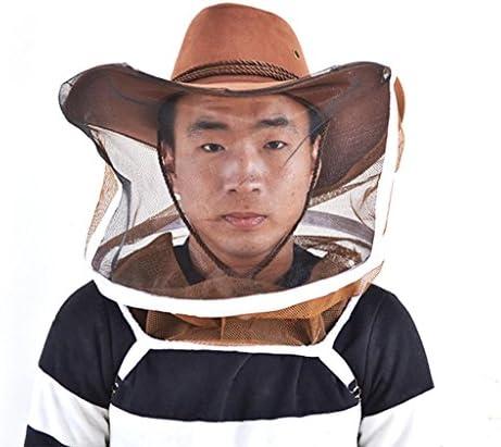 KESOTO 養蜂用 作業帽子 ベール 蚊 蜂対策 通気性 フェースガード 人工皮革