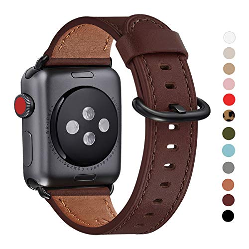 WFEAGL Compatible iWatch Band, Top Grain Leather Band Replacement Strap for iWatch Series 4,Series 3,Series 2,Series 1,Sport, Edition (Dark Brown Band + Black Adapter, 38mm 40mm)