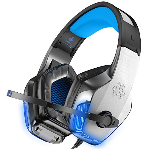 BENGOO X-40 Gaming Headset for Xbox One, PS4, PC, Controller, Noise Cancelling Over Ear Headphones with Mic, LED Light Bass Surround Soft Memory Earmuffs for Computer Laptop Mac Nintendo Switch Games (Psp Slim Camera)