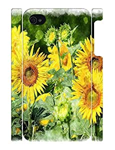 Cute Custom Trendy Sunflower Slim Phone Shell Case Fits for Iphone 4 4S