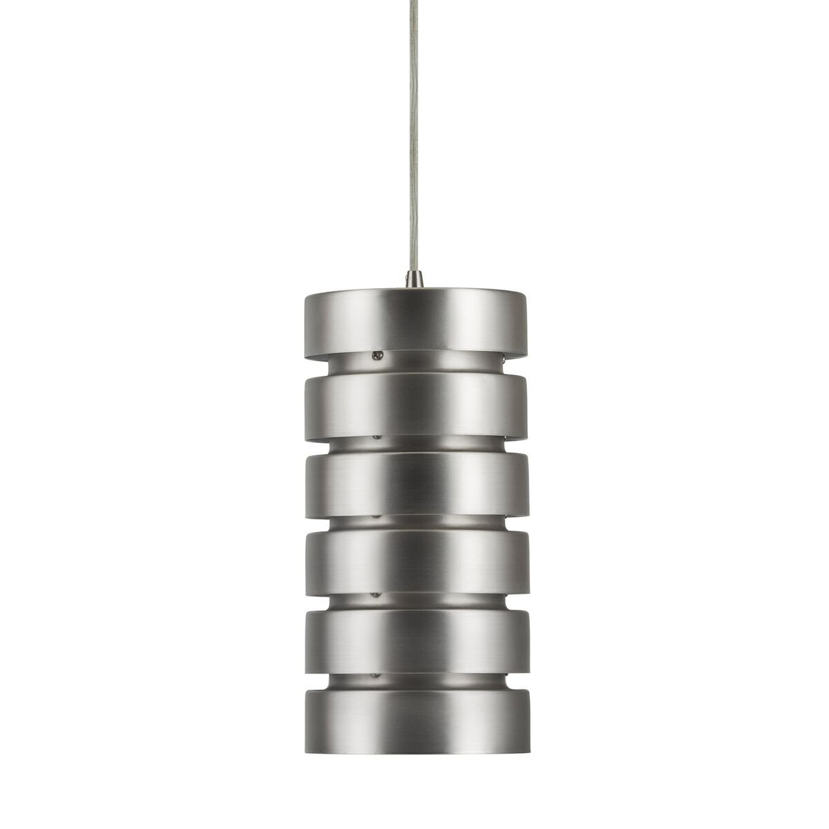 Macchione Modern Hanging Pendant Light - Brushed Nickel Steel- Linea di Liara LL-P518