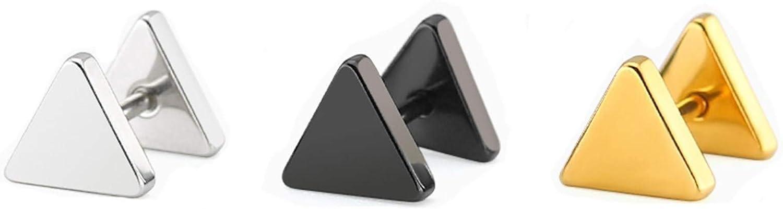 Beydodo Pendientes 3Pares Triángulo 6MM/8MM Pendientes Acero Inoxidable Mujer Hombre Negro Oro Plata