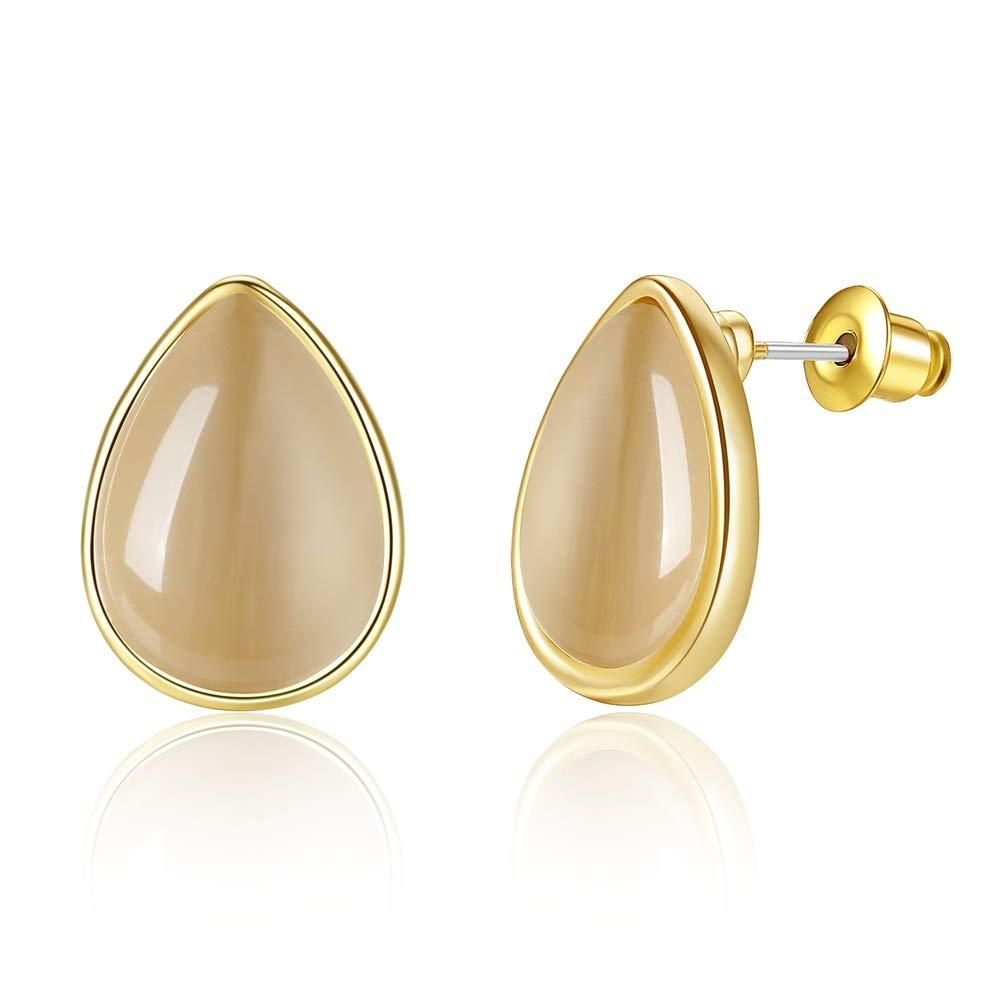 LEVIOLET Christmas Gold Stud Earrings Woman Hypoallergenic Teardrop Opal Earring for Women