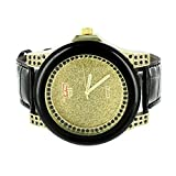 Gold Illusion Dial Watch Black Leather Band Joe Rodeo Look Simulated Diamond New