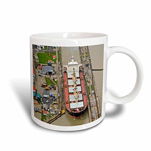 3dRose Container Ship Panama Canal Ceramic Mug, 15-Ounce