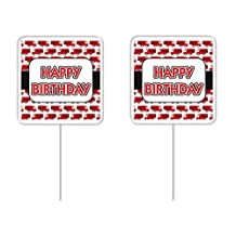 CakeSupplyShop Item# 45623 Happy Birthday Fire Truck Cupcake Picks- 12Pack