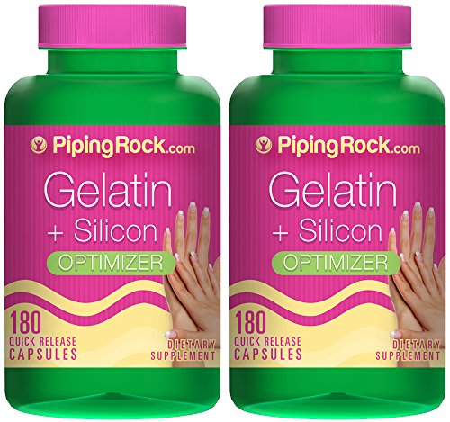 Piping Rock Gelatin plus Silicon Optimizer 540 mg 2 Bottles x 180 Quick Release Capsules Dietary Supplement