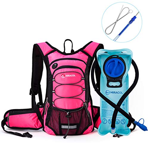 MIRACOL Insulated Hydration Backpack Pack with 2L BPA Free Water Bladder and Long Tube Brush, Perfect Outdoor Gear for Hiking, Running, Camping, Cycling, Fits Men, Women, Kids, Children, Pink - Pink Hydration Pack