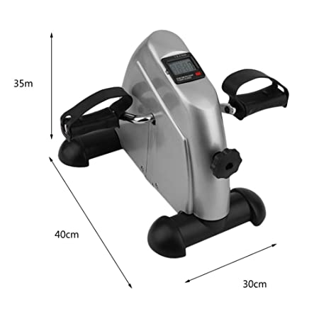 Lcyy-step Pedal Exerciser Two Pedals Mini Exercise Bike Portable Under Desk Mini Cycle Bike Legs with LCD Monitor Silver