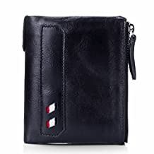 Mens Short Genuine Leather Cowhide Zip Wallet Vintage Bifold Double Zipper Pockets