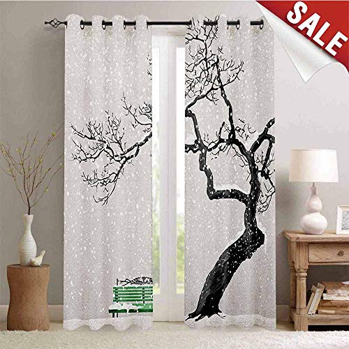Hengshu Tree Blackout Window Curtain Dramatic Winter Scenery with Retro Bench and Lonely Tree in a Cold Day Customized Curtains W108 x L96 Inch Charcoal Grey Sea Green