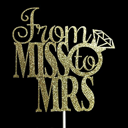 From Miss to Mrs Gold Glitter Paper Cake Topper