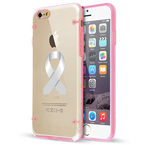 Apple iPhone Ultra Thin Transparent Clear Hard TPU Case Cover Diabetes Brain Cancer Parkinson's Disease Lung Cancer Color Awareness Ribbon (Light Pink For iPhone 7 Plus)