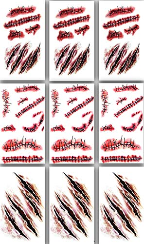 9pcs Horror Realistic Fake Bloody Wound Stitch Scar Scab Waterproof Temporary Tattoo Sticker Halloween Masquerade Prank Makeup Props
