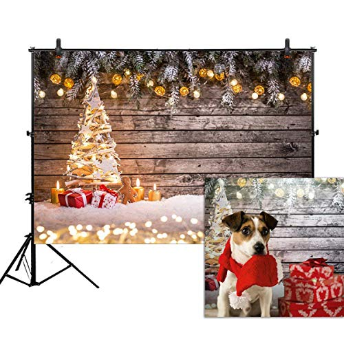 Allenjoy 7x5ft Christmas Photography Backdrop Rustic Wood Wall Gold Glitter Xmas Year Winter Snow Christmas Tree Background Photo Booth Party Decor