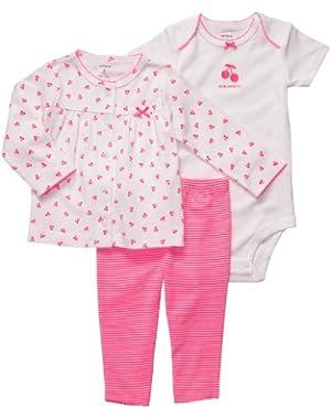 Baby Girls' Cherry Blossom 3-piece Cardigan Legging Set