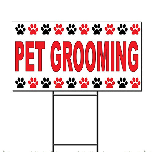 Free Grooming (Pet Grooming Red Corrugated Plastic Yard Sign /Free Stakes 18 x 24 inches Two Sides Color)