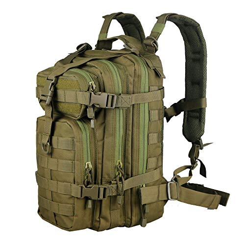 - X&X Mini Tactical Backpack Hydration Pack Small Assault Rucksack 30L Molle System with Laptop Compartment Expandable OD (Bladder no Included)