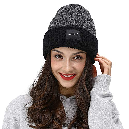LETHMIK Fleece Lined Cuff Beanie,Solid Color Knit Hat Slouchy Winter Skull Cap for Men&Women Black&Grey ()