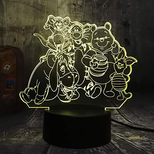 (Cartoon Big Family Cute Winnie Pooh Bear Eeyore Tigger Piglet Roo Rabbit Robin Friends 3D LED Night Light 7 Color Table Lamp Home Decor Kids Christmas Gift(Winnie Bear Family))