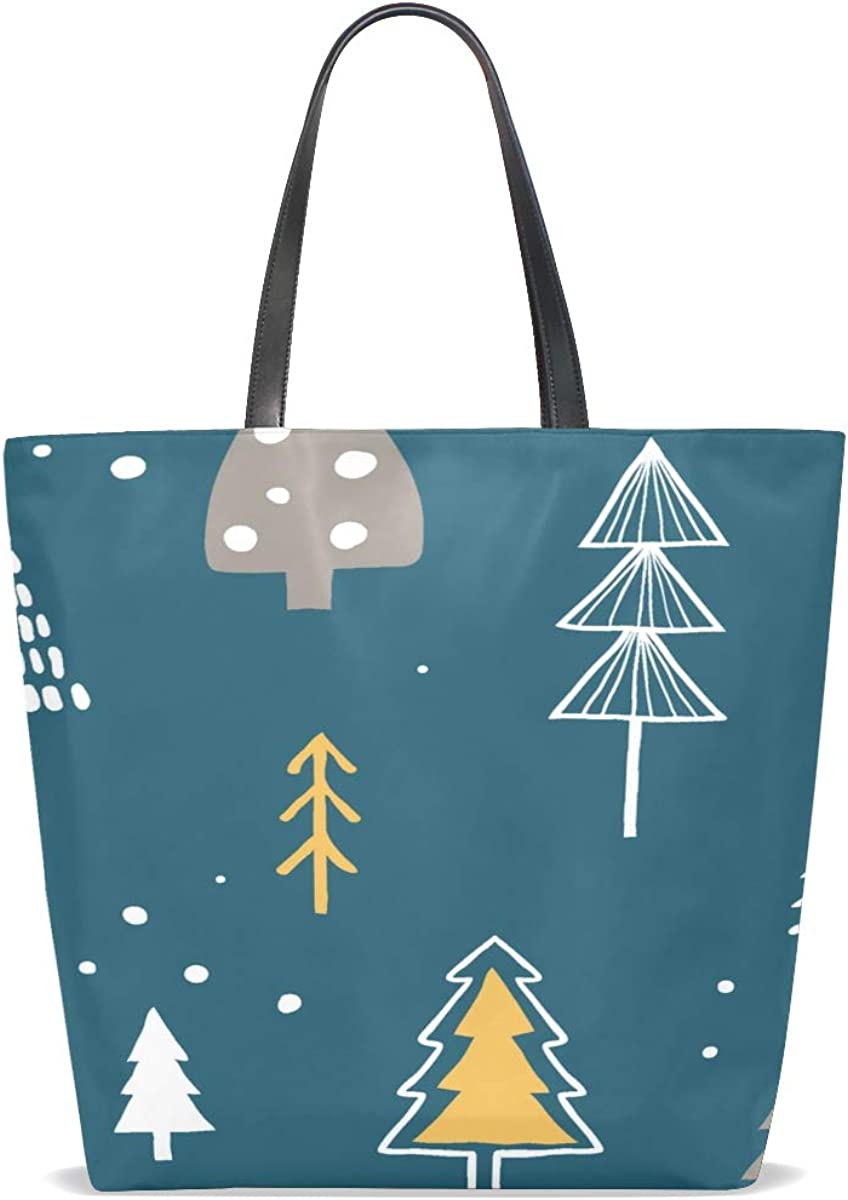 Womens Zip Tote Bags Handle Satchel Womans Tote Bags Purse Messenger Bags Tote Bags For Women On Sale Nature Forest Winter Cool Green Tree Printing Bags Shoulder