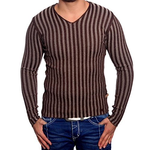 R-Neal RN-3174 Herren Pullover V-Neck Pulli Sweatshirt Jacke Hoodie T-Shirt Neu, Größe:L, Farbe:Braun