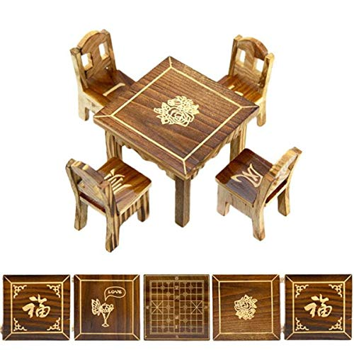 EatingBiting(R) 5 Pack Set Random Pattern 1:12 Dollhouse Miniature Furniture Mini Dining Room 1 Table and 4 Chair Wooden DIY Hand-Made desks Table Chairs Carving Means May All Your Wishes Come True
