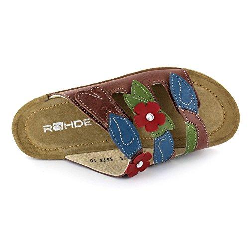 Rohde 1455-76 - Zuecos de Piel para mujer Marrón marrón 38 marrón