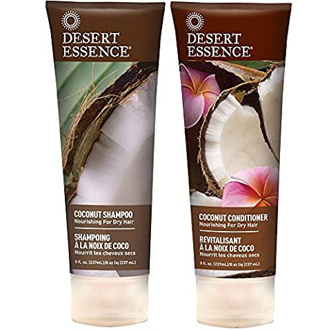 Desert Essence All Natural Organic Coconut Moisturizing Shampoo and Conditioner For Dry or Frizzy Hair With Aloe Vera, Jojoba, Witch Hazel and Shea Butter, 8 fl. oz. (Organics Coconut Conditioner)