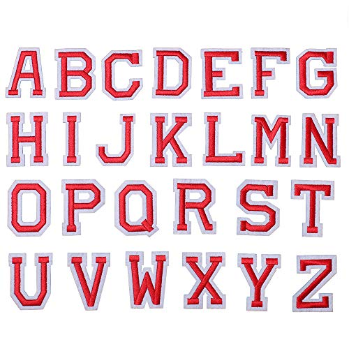 J.CARP 26Pcs Red Alphabet A to Z Patches, Iron on Sew on Letters for Clothing, Hats, Shoes, Backpacks, Handbags, Jeans, Jackets etc.