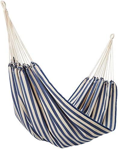 NOVICA Navy Blue White Striped Cotton Fabric 1 Person Brazilian Style Hammock