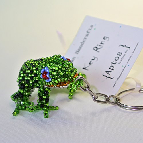 Adorable Handcrafted Green Tropical Frog Key Ring / Key Chain / Backpack Charm / Purse Charm - Frog Prince Keychain