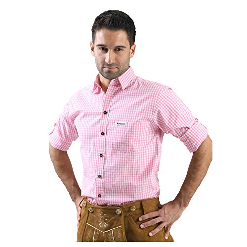 Almbock Trachten-Hemd Alfons in pink - für Männer, große Größen S M L XL XXL 3XL, halbarm, für Oktoberfest, modern, Ärmel zum hoch krempeln