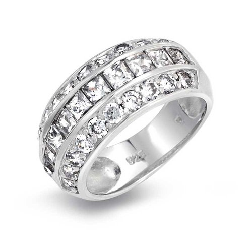 (Simple Minimalist 3 Stone Channel Set CZ Engagement Wedding Band For Men For Women Silver Tone Stainless Steel)