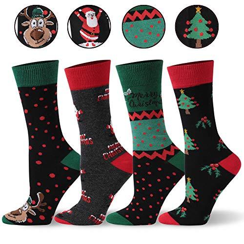 Men Christmas Holiday Pattern Dress Socks, SHETOP Christmas