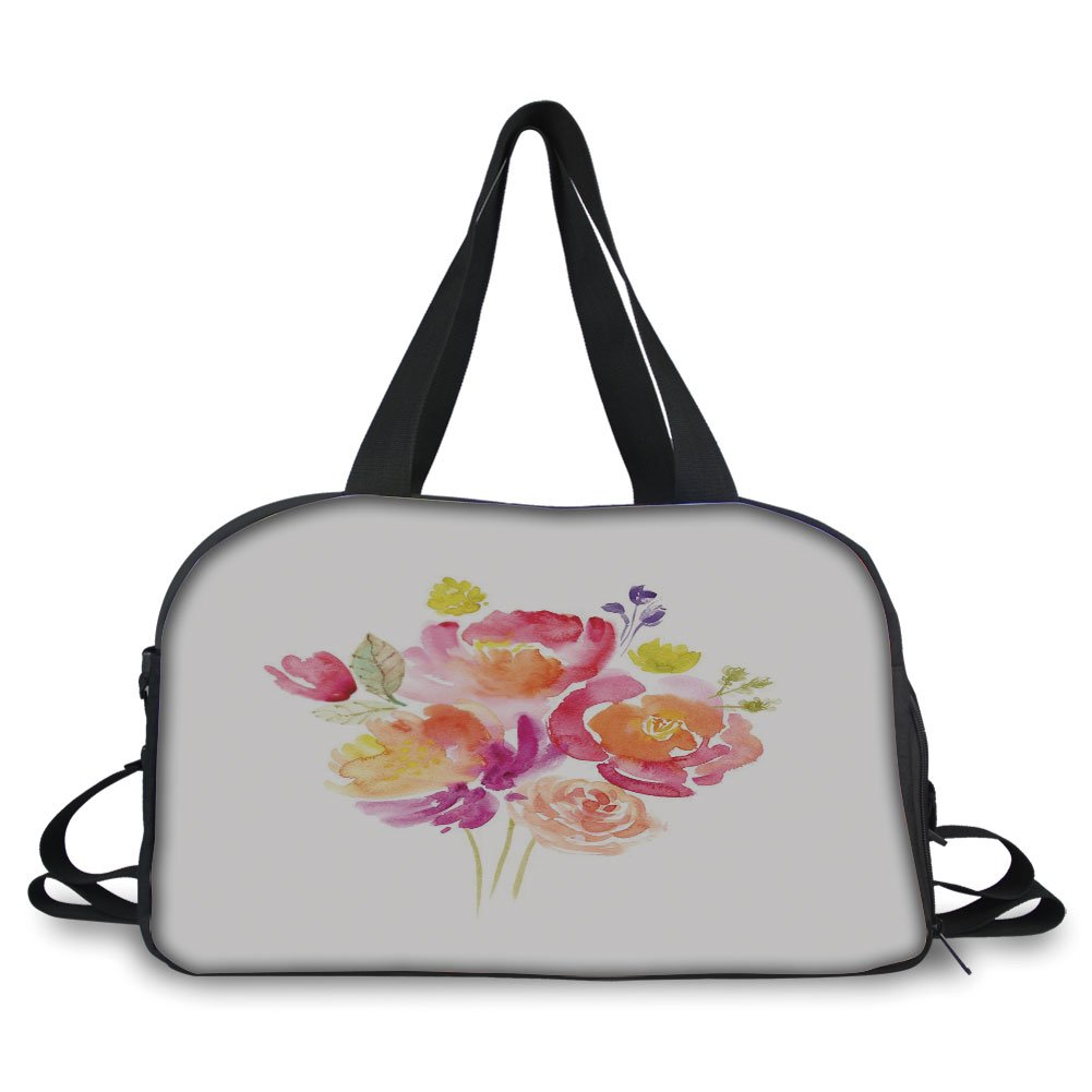 iPrint Travelling bag,Pastel,Watercolor Bouquet of Roses Romantic Artistic Corsage Design Bridal Wedding Flora,Multicolor ,Personalized