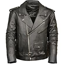Event Biker Leather Men's Basic Motorcycle Jacket with Pockets (Black, Small)