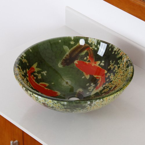 Koi and Lily Pond Glass Vessel Sink Fontaine Glass Vessel Sink
