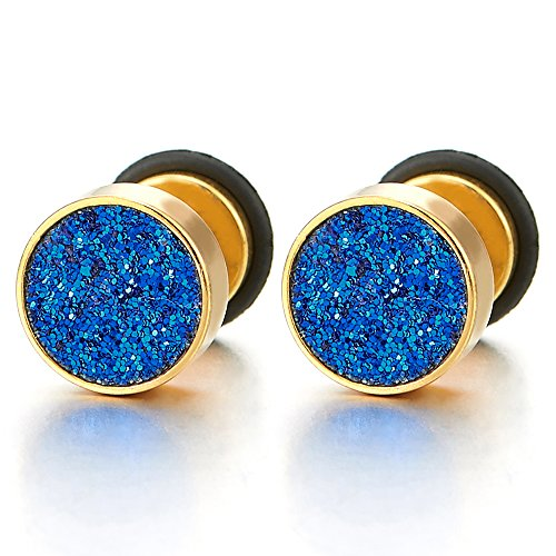 8mm Mens Womens Gold Color Screw Circle Stud Earrings Blue Sand Glitter, Steel Fake Ear Plug ()