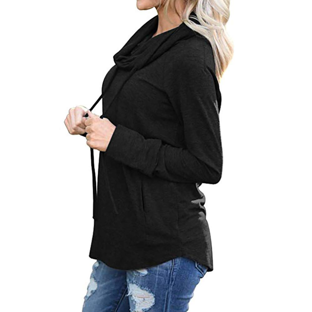 Rambling Women's Long Sleeve Cowl Neck Drawstring Double Hooded Sweatshirt Pullover Tops with Pockets by Rambling (Image #2)
