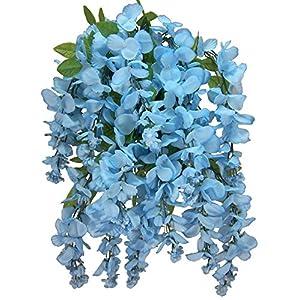 Artificial Wisteria Long Hanging Bush Flowers - 15 Stems For Home, Wedding, Restaurant and Office Decoration Arrangement, Celedon 1