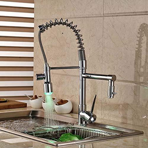 Decorry Chrome Messing Led Spring Kitchen Wasserhahn Doppel Spritzgeräte Schiff Sink Mischbatterie Deck Montiert Messing