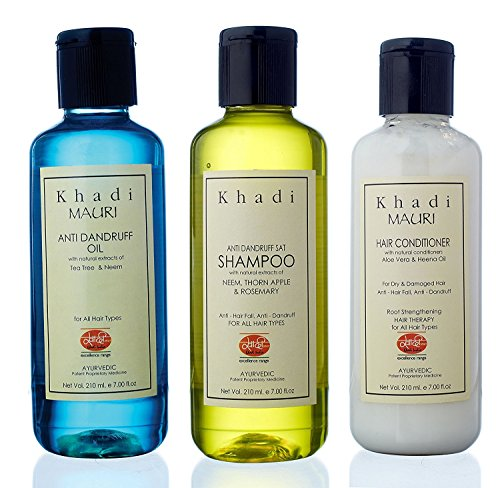 Khadi Mauri Herbal Hair Conditioner - Anti Dandruff Shampoo & Anti Dandruff Oil Combo Pack Of 3 Ayurvedic Natural 210 Ml Each